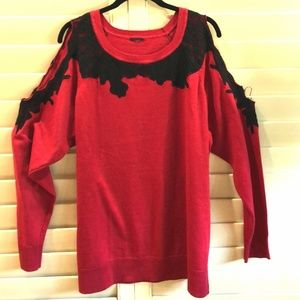 RED AND BLACK LACED BLOUSE